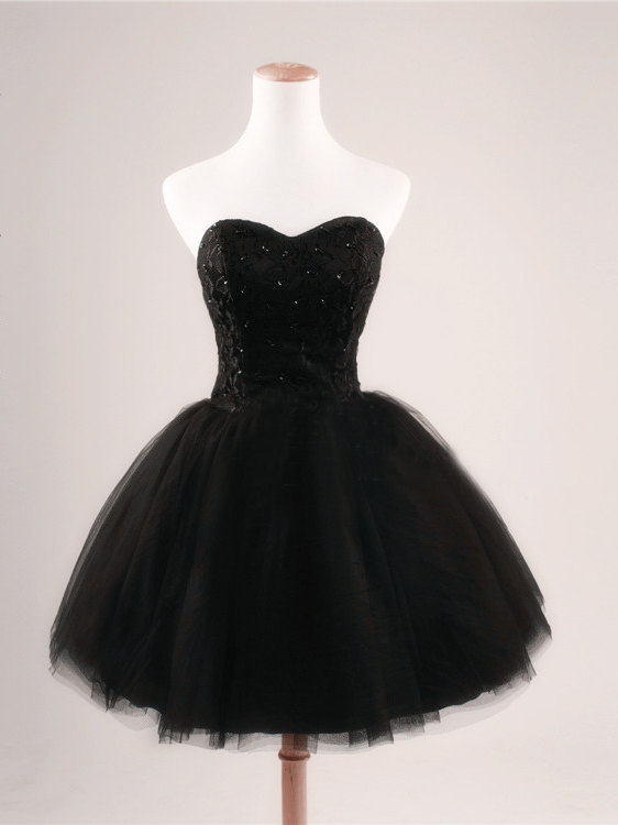 Black ball gown sweetheart short prom dresses black prom for Little black wedding dress