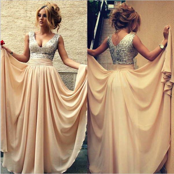 Custom Made A Line V Neck Prom Dresses 2015, Cheap Prom Dresses ...