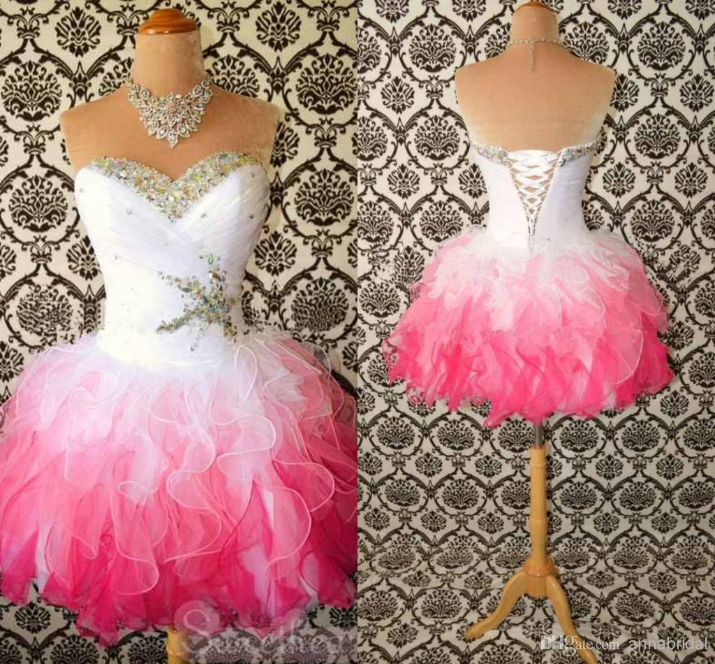 Short Pink And White Prom Dresses - Missy Dress