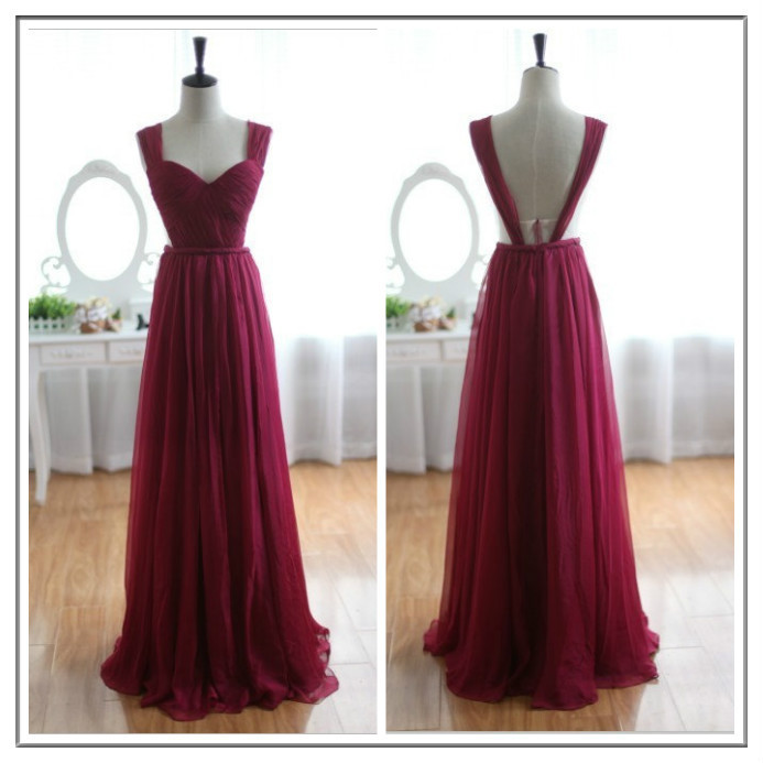Custom Made Wine Red Burgundy Chiffon Bridesmaid Dress