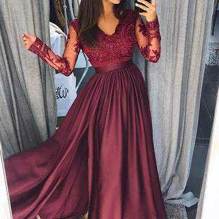 A Line Long Sleeves Lace Burgundy Satin Long Prom Dresses, Formal Dresses, Evening Dresses