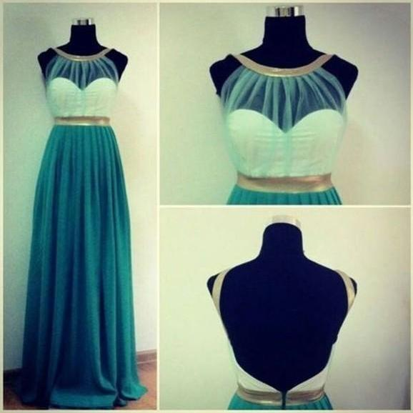 Custom Made Green And Gold Round Neckline Backless Prom Dresses, Long Prom Dresses, Dresses for Prom, Formal Dresses, Green Prom Dresses