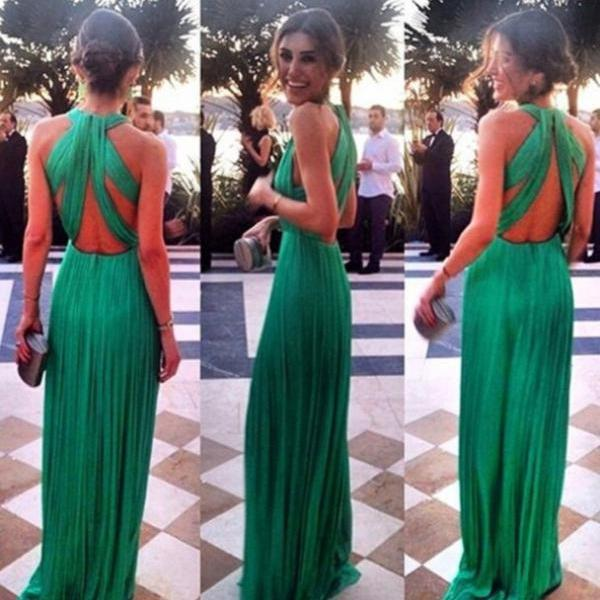 Custom Made A Line Long Green Prom Dresses, Long Green Formal ...