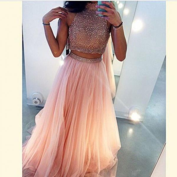 Custom Made 2 Pieces Pink Long Prom Dresses, Long Party Dresses